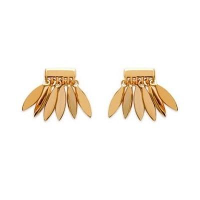 Boucles d'oreilles pour femme plume en plaqué or, Zana - Bijoux femme
