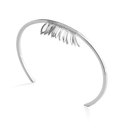 Bracelet Jonc plume en argent rhodié pour femme - Zana - Lyn&Or Bijoux