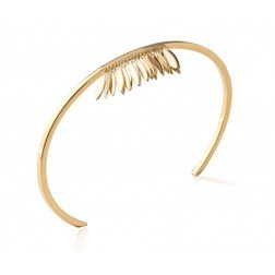 Bracelet Jonc plume en plaqué or - Zana - Lyn&Or Bijoux