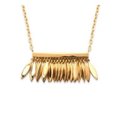 collier pour femme plume en plaqué or, Zana