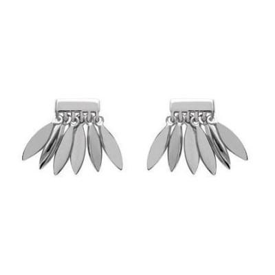 Boucles d'oreilles pour femme plume en argent, Zana