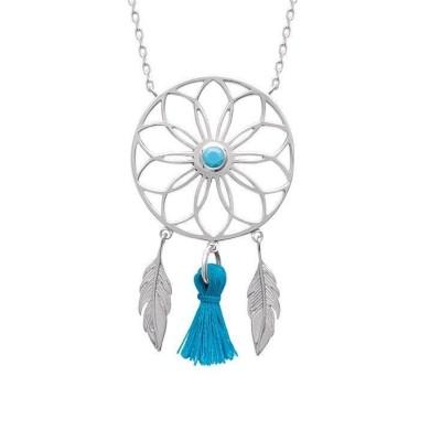 Collier en argent rhodié et pierre turquoise, Attrape-rêve - Bijoux femme