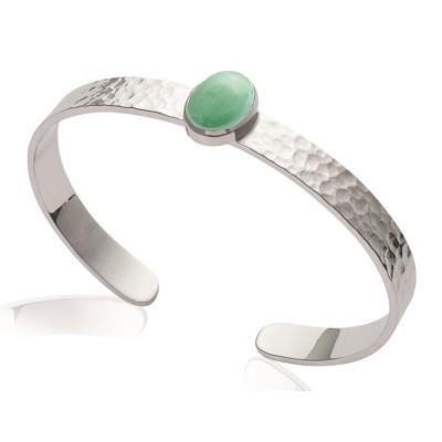 Bracelet jonc ouvert, argent et aventurine verte - Bijoux Femme