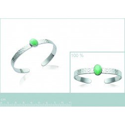 Bracelet jonc ouvert, argent et aventurine verte pour femme
