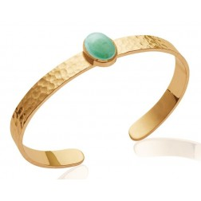 Bracelet jonc en plaqué or jaune 18 carats et aventurine verte, Bijoux Femme