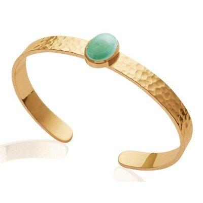 Bracelet jonc en plaqué or et aventurine verte pour femme - Conquista - Lyn&Or Bijoux