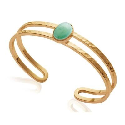 Bracelet jonc ouvert, plaqué or et aventurine verte - Bijoux Femme