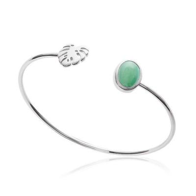 Bracelet jonc en argent rhodié et aventurine verte pour femme - Yvana - Lyn&Or Bijoux