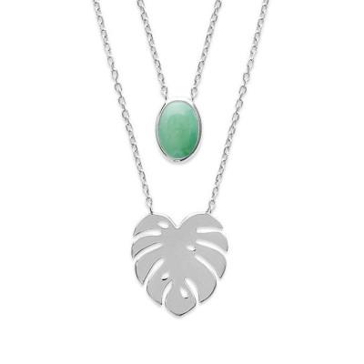Double collier en argent rhodié et aventurine verte - Bijoux Femme