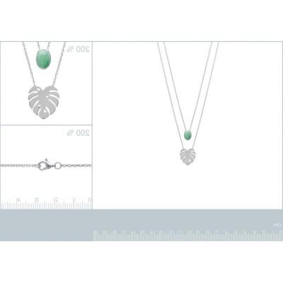 Double collier en argent rhodié et aventurine verte pour femme