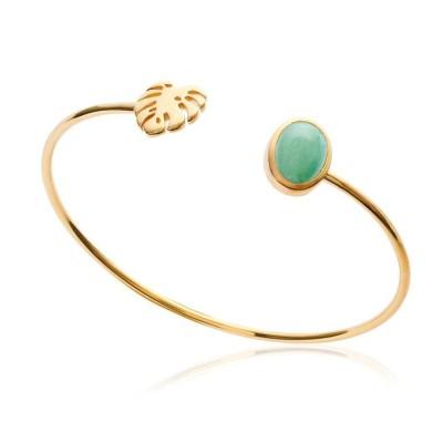Bracelet jonc en plaqué or et aventurine verte, Bijoux Femme