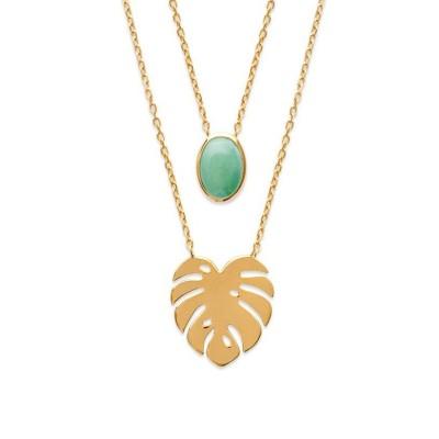 Double collier en plaqué or et aventurine verte - Bijoux Femme