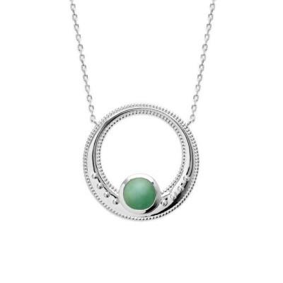 Collier aventurine verte et argent rhodié pour femme - Elouna - Lyn&Or Bijoux