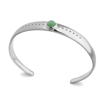 Bracelet jonc en argent rhodié et aventurine verte pour femme - Elouna - Lyn&Or Bijoux