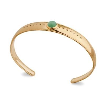 Bracelet jonc aventurine verte et plaqué or - Bijoux Femme