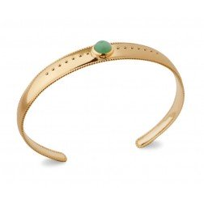 Bracelet jonc aventurine verte et plaqué or pour femme - Elouna - Lyn&Or Bijoux