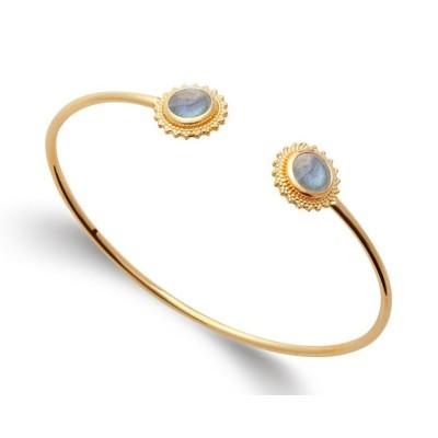 Bracelet jonc labradorite et plaqué or - Bijoux Femme