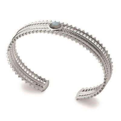 Bracelet jonc en argent rhodié et labradorite - Bijoux Femme