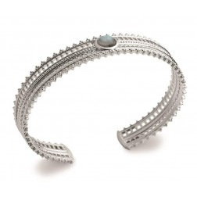 Bracelet ouvert pour femme, jonc en argent rhodié et pierre irisée