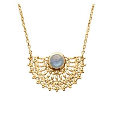 Collier en plaqué or 18 carats et labradorite irisée, Bijoux Femme