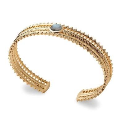 Bracelet jonc en plaqué or jaune 18 carats et pierre irisée, Bijoux Femme
