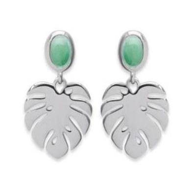 Boucles d'oreilles en argent 925 rhodié et aventurine verte, Bijoux Femme