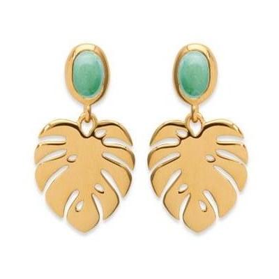 Boucles d'oreilles en plaqué or et aventurine verte, Bijoux Femme