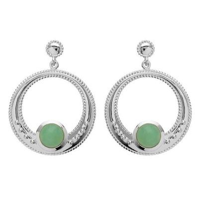 Boucles d'oreilles aventurine verte et argent rhodié pour femme - Elouna - Lyn&Or Bijoux
