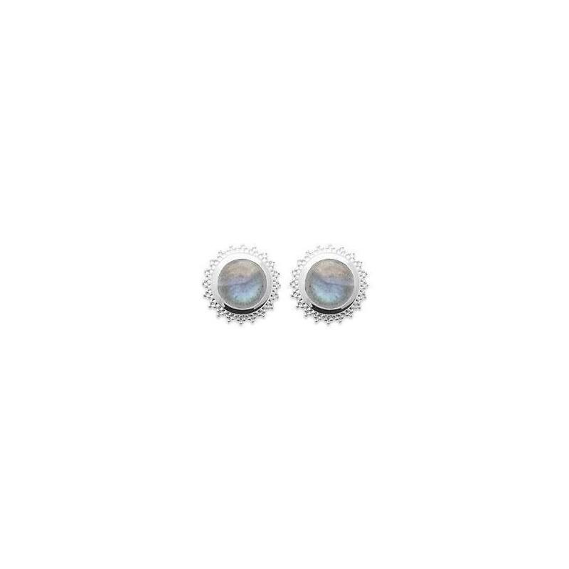 Boucles d'oreilles labradorite et argent rhodié - Bijoux Femme
