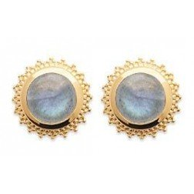 Boucles d'oreille femme en pierre naturelle: labradorite & plaqué or - Manille - Lyn&Or Bijoux