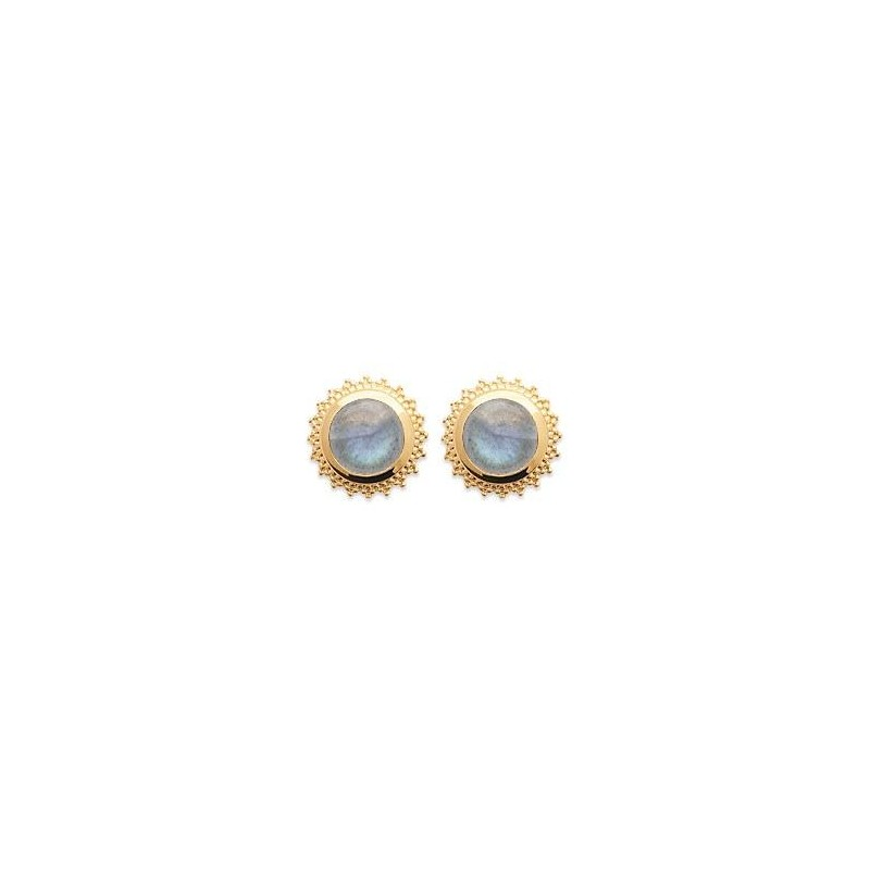 Boucles d'oreilles labradorite et plaqué or - Bijoux Femme