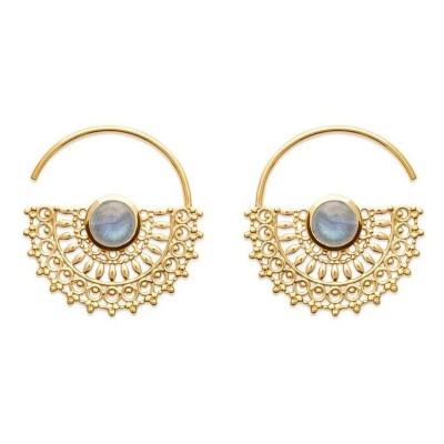 Boucles d'oreilles en plaqué or jaune 18 carats et labradorite, Bijoux Femme