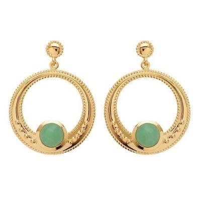Boucles d'oreilles aventurine verte et plaqué or - Bijoux Femme