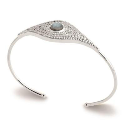 Bracelet jonc en argent 925 rhodié et pierre irisée, Bijoux Femme