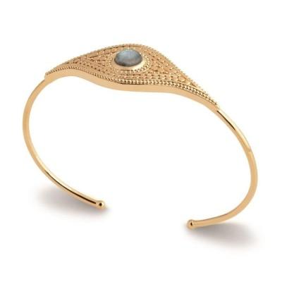 Bracelet jonc en plaqué or et pierre irisée, Bijoux Femme
