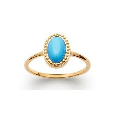 Bague en plaqué or et turquoise synthétique - Bijoux Femme