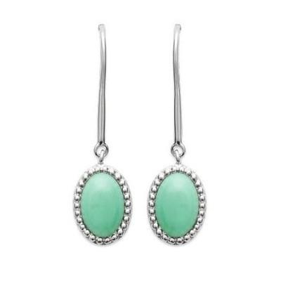 Boucles d'oreille pendantes femme en aventurine verte - Bornéo - Lyn&Or Bijoux