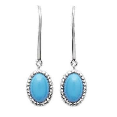 Boucles d'oreilles en argent rhodié et turquoise synthétique - Bijoux Femme