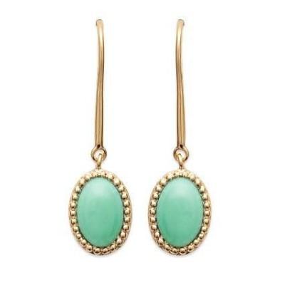 Boucles d'oreilles en plaqué or jaune 18 carats et aventurine verte, Bijoux Femme