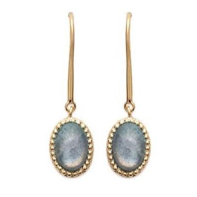 Boucles d'oreilles en plaqué or et labradorite pour femme - Bornéo - Lyn&Or Bijoux