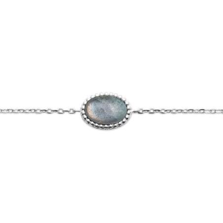 Bracelet en argent rhodié et labradorite, Bijoux Femme
