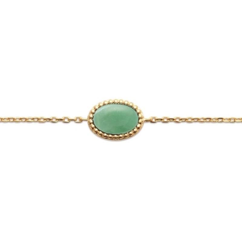 Bracelet en plaqué or et aventurine verte - Bijoux Femme