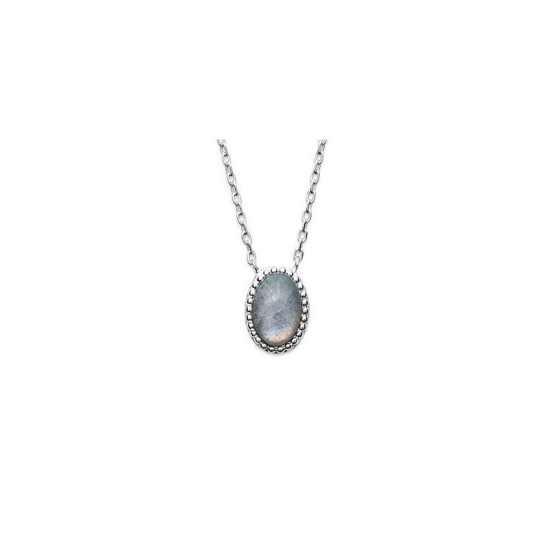 Collier en argent 925 rhodié et labradorite, Bijoux Femme