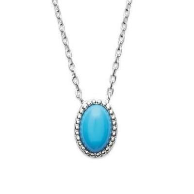 Collier en argent rhodié et turquoise synthétique - Bijoux Femme