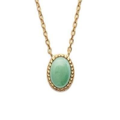 Collier en plaqué or et aventurine verte pour femme - Bornéo - Lyn&Or Bijoux