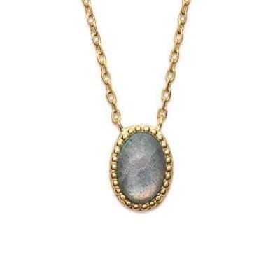 Collier femme en pierre naturelle, Labradorite & plaqué or - Bornéo - Lyn&Or Bijoux