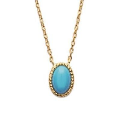 Collier en plaqué or et turquoise synthétique - Bijoux Femme