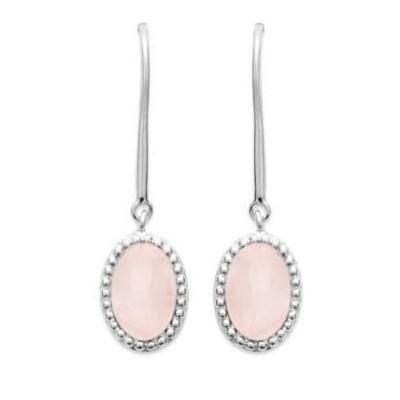 Boucles d'oreilles en argent rhodié et Quartz Rose - Bijoux Femme