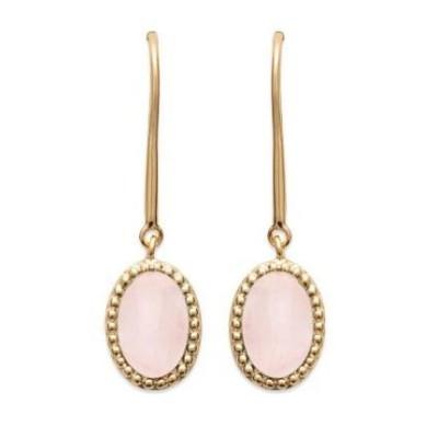 Boucles d'oreilles en plaqué or et Quartz Rose - Bijoux Femme