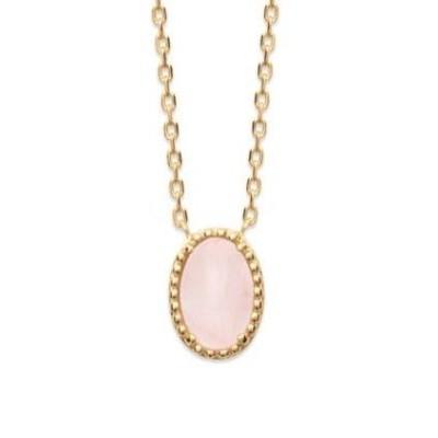 Collier en plaqué or et Quartz Rose pour femme - Bornéo - Lyn&Or Bijoux